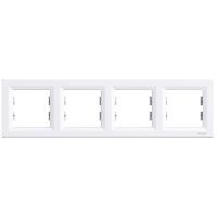 Рамка четырехпостовая горизонтальная  ASFORA Schneider Electric Белый