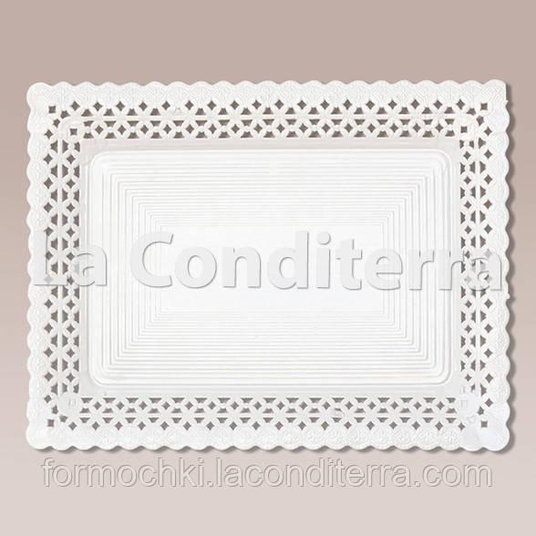 Белые ажурные тарелки Salaet ARIES, прямоугольные - 15x31 см