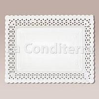 Белые ажурные тарелки Salaet ARIES, прямоугольные - 15x31 см, фото 1