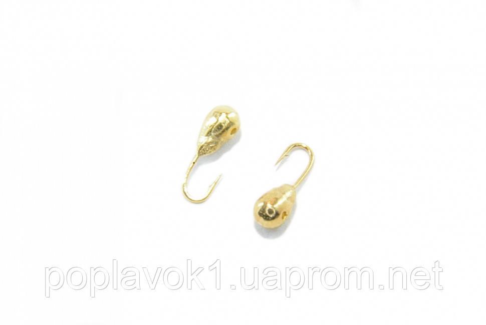Мормышка вольфрамовая Капля с отверствием 2.5мм (золото)