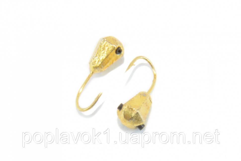 Мормышка вольфрамовая Капля граненая 4мм (золото)