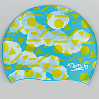 Шапочка для плавания детская SPEEDO JUNIOR SLOGAN PRINT (голубой-желтый)