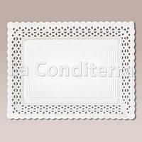 Белые ажурные тарелки Salaet ARIES, прямоугольные - 18x25 см