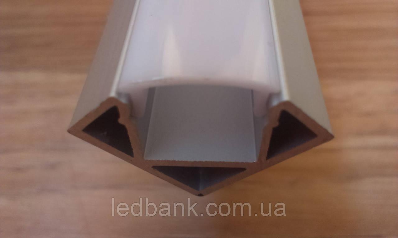 Алюминиевый профиль для светодиодной ленты угловой с рассеивателем LED-03
