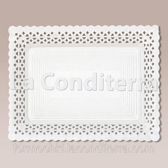 Белые ажурные тарелки Salaet ARIES, прямоугольные - 27x32 см