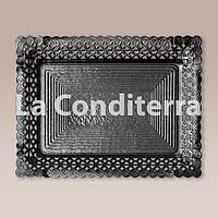 Черные ажурные тарелки Salaet ARIES, прямоугольные - 15x31 см
