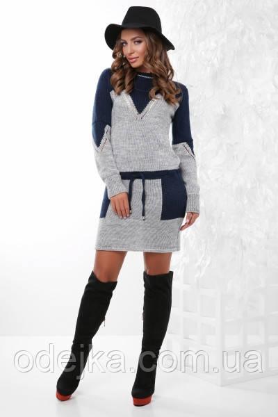 Платье туника вязанное 156 (6 цв), платье теплое, платье облегающее, осеннее платье