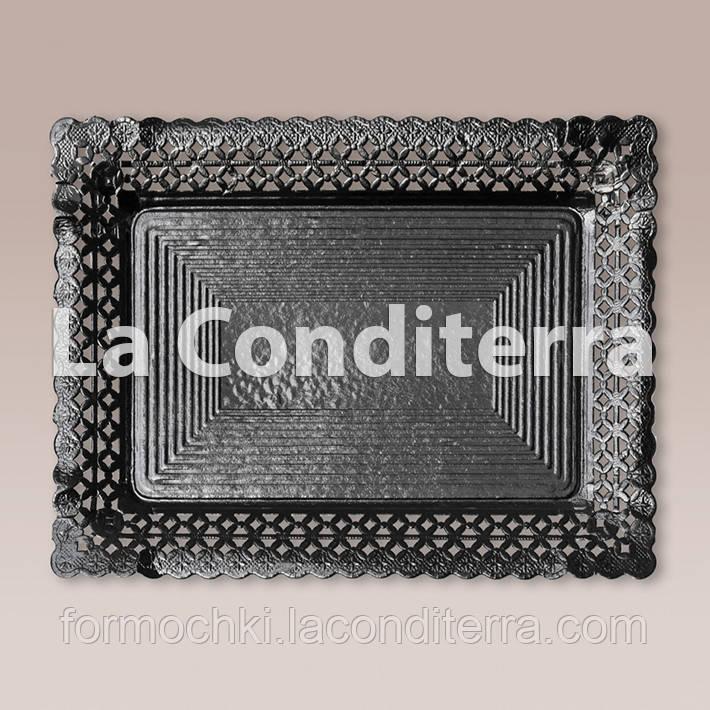Черные ажурные тарелки Salaet ARIES, прямоугольные - 18x25 см