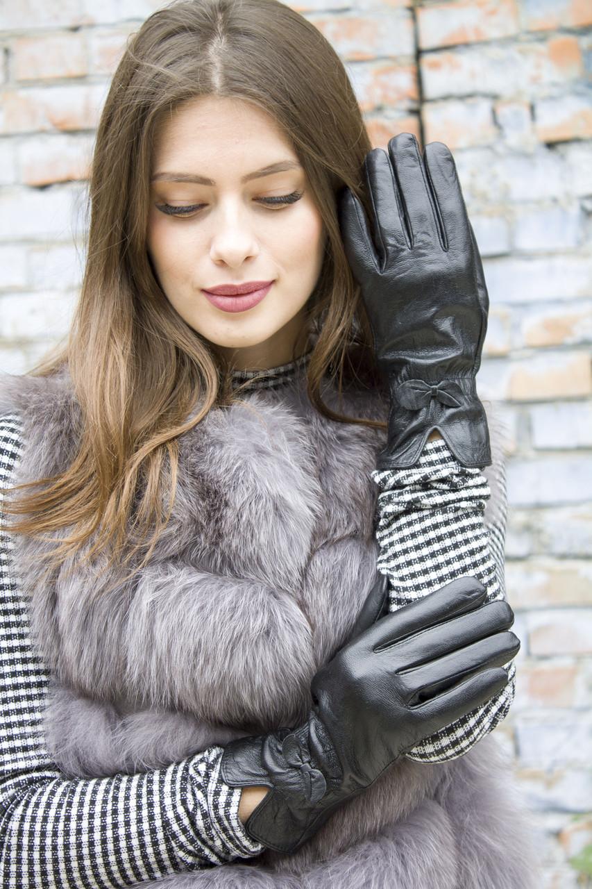 Женские кожаные перчатки 8 р Черные (364.8)