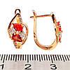 Серьги Xuping с красными и белыми фианитами ( куб. цирконием), из медицинского золота, в позолоте, ХР00238 (1), фото 2