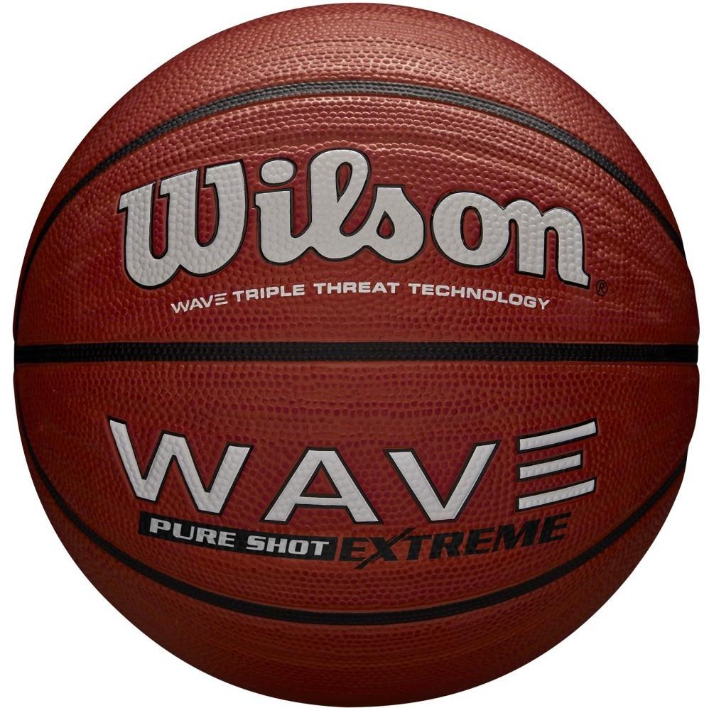 Мяч баскетбольный Wilson WAVE PURE SHOT EXTREME SS19, размер 7, резиновый, резиновый, коричневый (WTB0946XB)