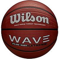 Мяч баскетбольный Wilson WAVE PURE SHOT EXTREME SS19, размер 7, резиновый, резиновый, коричневый (WTB0946XB), фото 1