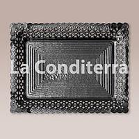 Черные ажурные тарелки Salaet ARIES, прямоугольные - 35x41 см