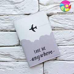 Обложка для паспорта Take me anywhere (серый)