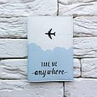 Обложка для паспорта Take me anywhere 2 (голубой), фото 2