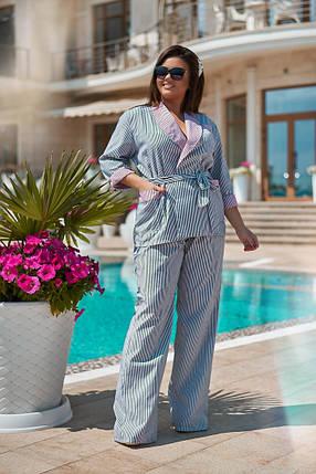 """Брючный женский костюм в полоску """"Patti"""" с жакетом (большие размеры), фото 2"""