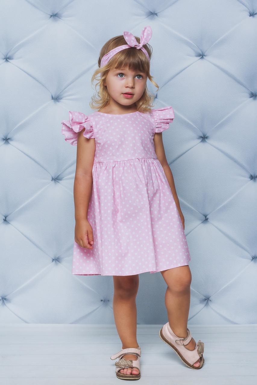 Платье детское Розовое в горошек
