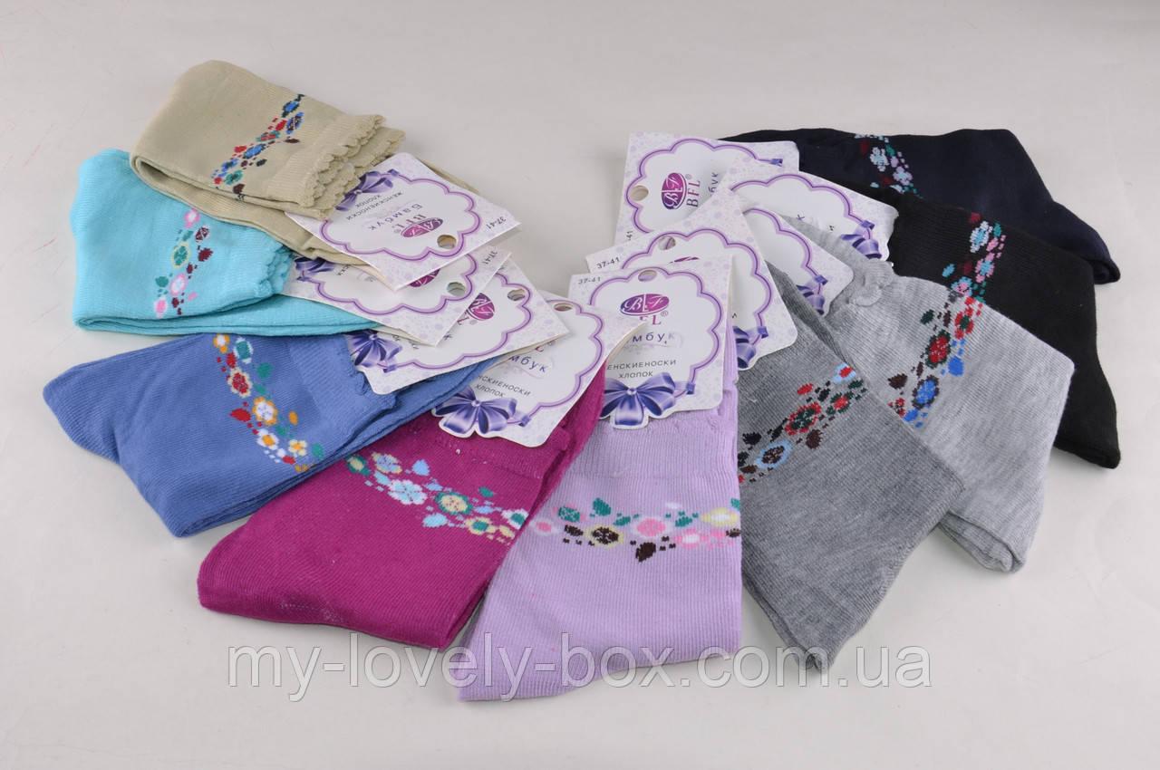 ОПТОМ.Женские носки однотонные с рисунком (B118)   12 пар
