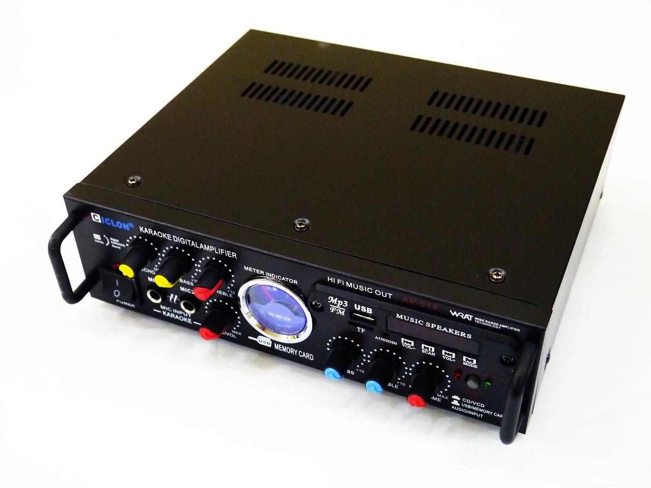 Усилитель звука Ciclon AV-512 USB+Fm+Mp3+Karaoke Черный (401606002)