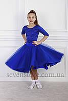 Рейтинговое платье Бейсик для бальных танцев Sevenstore 9140 Електрик