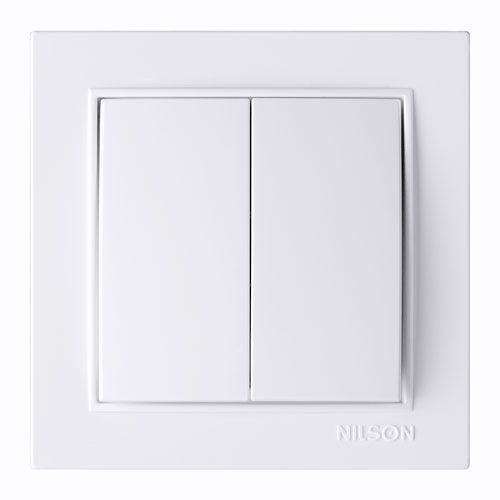 Выключатель двухклавишный белый Nilson Thor