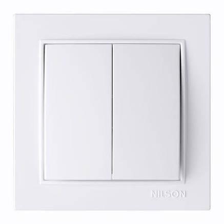 Выключатель двухклавишный белый Nilson Thor, фото 2