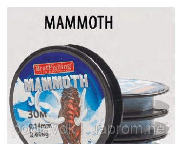 Леска Bratfishing Mammoth 30м  (0,16мм 3.80кг)