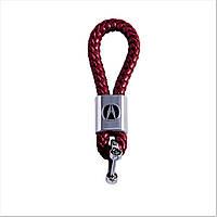 Кожаный брелок Luxury для Acura Бордовый (kb-275-d.red-n-Acura)