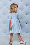 Платье детское с рукавами воланчиками Голубое, фото 3