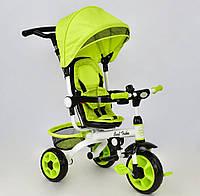 Детский трёхколёсный велосипед DT 128 Best Trike Салатовый, корзина для игрушек, звоночек, с ручкой