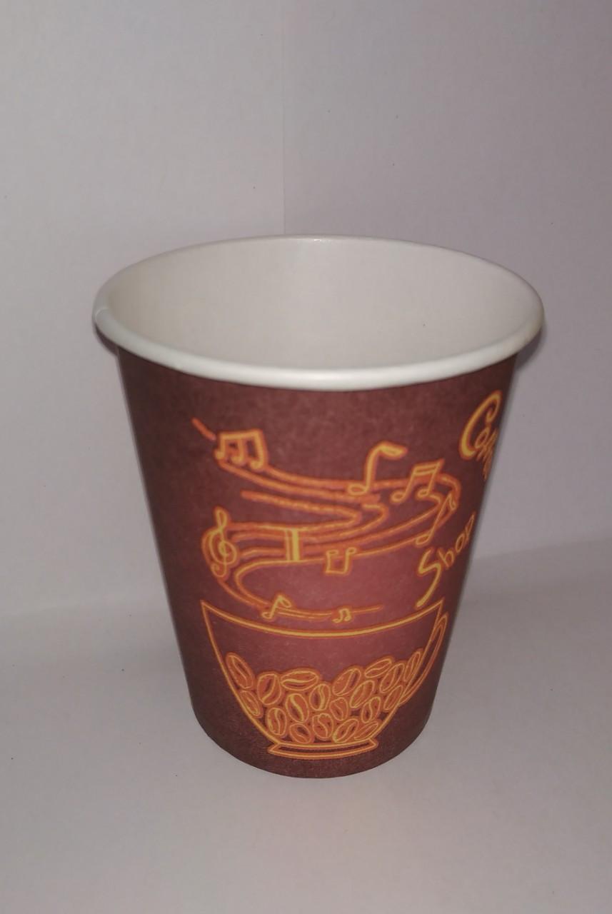 """Одноразовый бумажный стакан для кофе 175 мл Рис. """"Красный"""""""