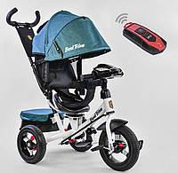Детский трёхколёсный велосипед 7700 В - 6980 Best Trike Голубой, поворотное сиденье, фара, с ручкой