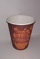 """Одноразовый бумажный стакан для кофе 250 мл Рис. """"Красный"""""""
