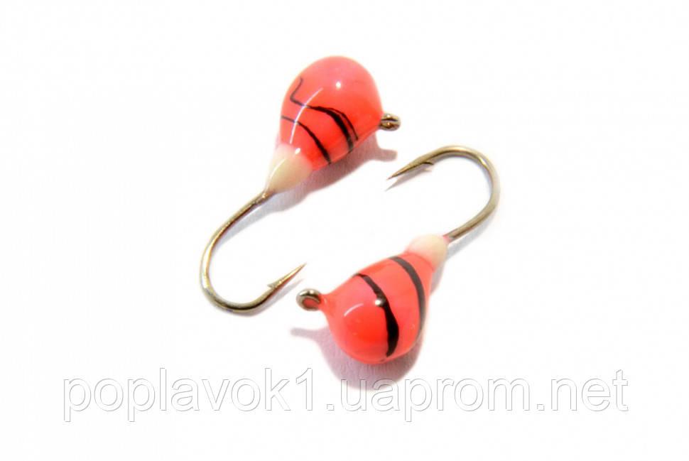 Мормышка вольфрамовая Капля с петелькой и покрытием 3мм (розовая)