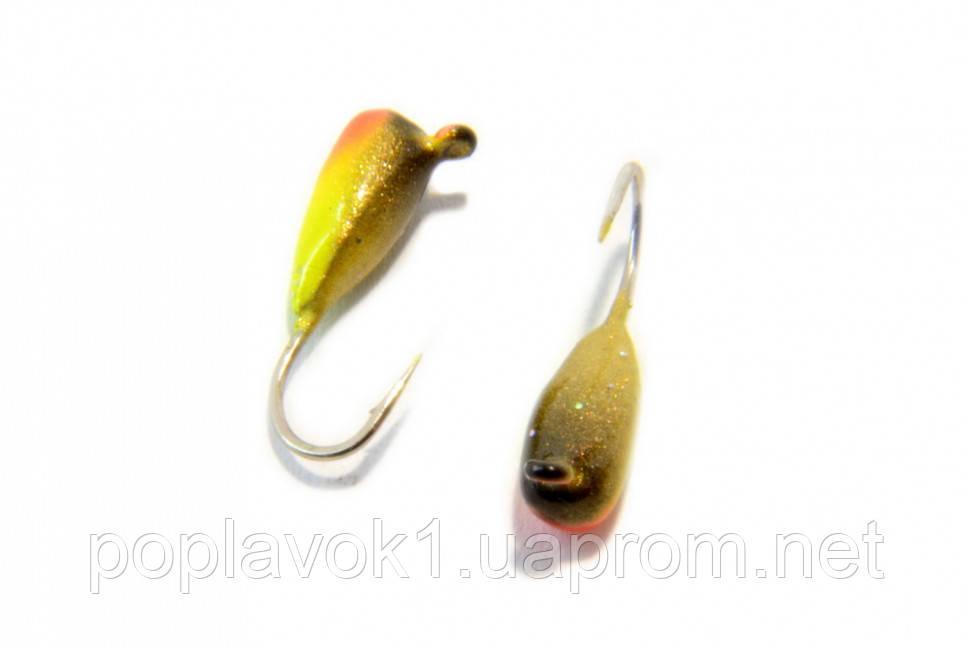 Мормышка вольфрамовая Рисина крашеная 3мм (жолтый, красный)