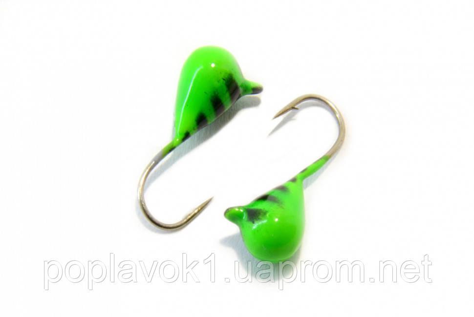 Мормышка вольфрамовая Капля с петелькой 4мм (зеленый)