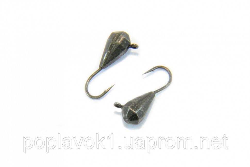 Мормышка вольфрамовая Капля с ушком граненая 3мм (Чёрный)