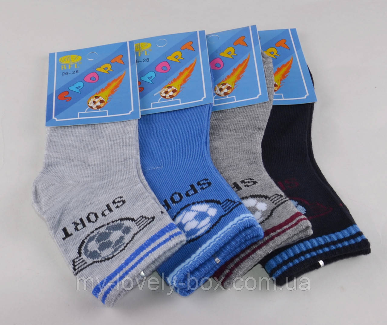 ОПТОМ.Детские носки Мячи однотонные р.26-28 (C195/M) | 12 пар