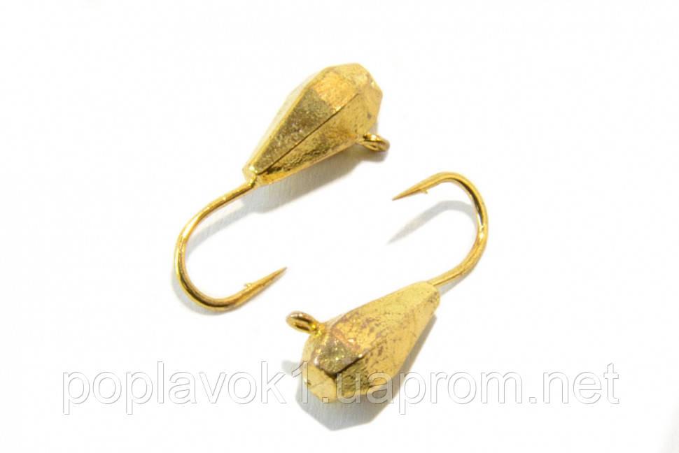 Мормышка вольфрамовая Капля длинная, граненая с петелькой 4мм (золото)