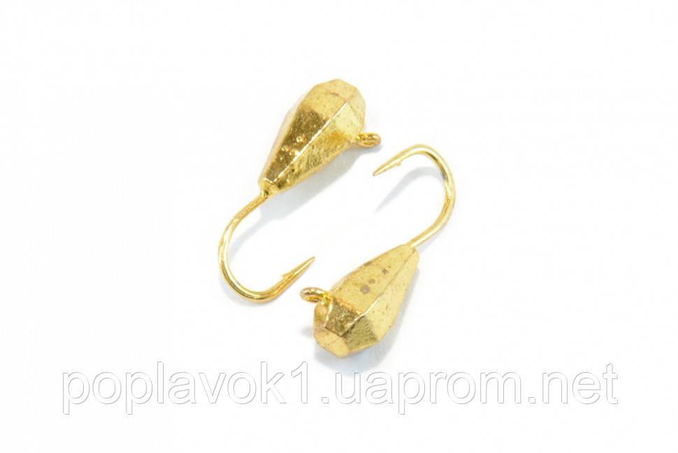 Мормышка вольфрамовая Капля с ушком граненая 4мм (золото)