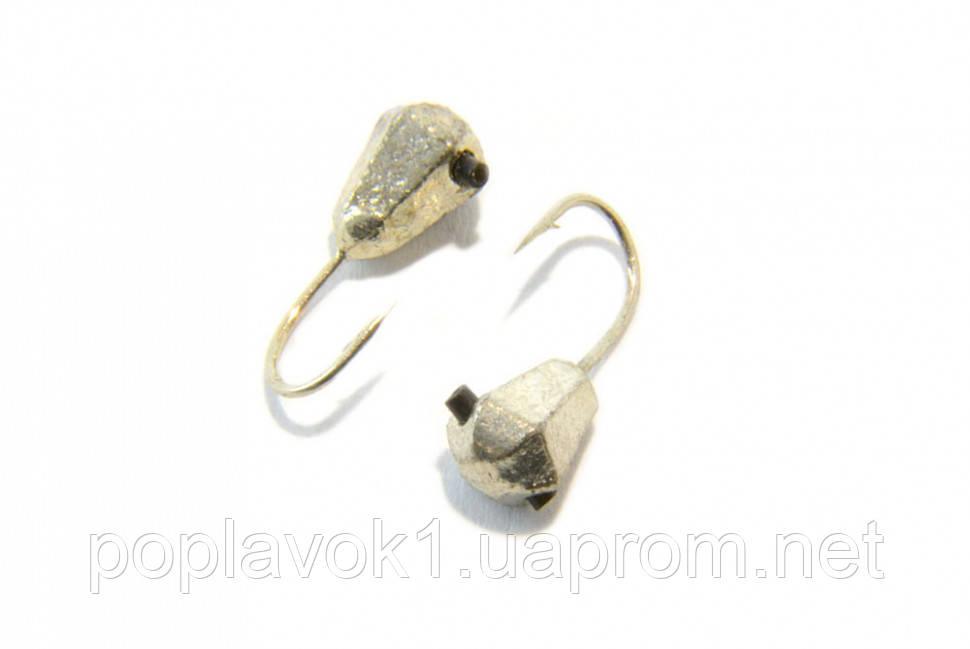Мормышка вольфрамовая Капля граненая 4мм (серебро)