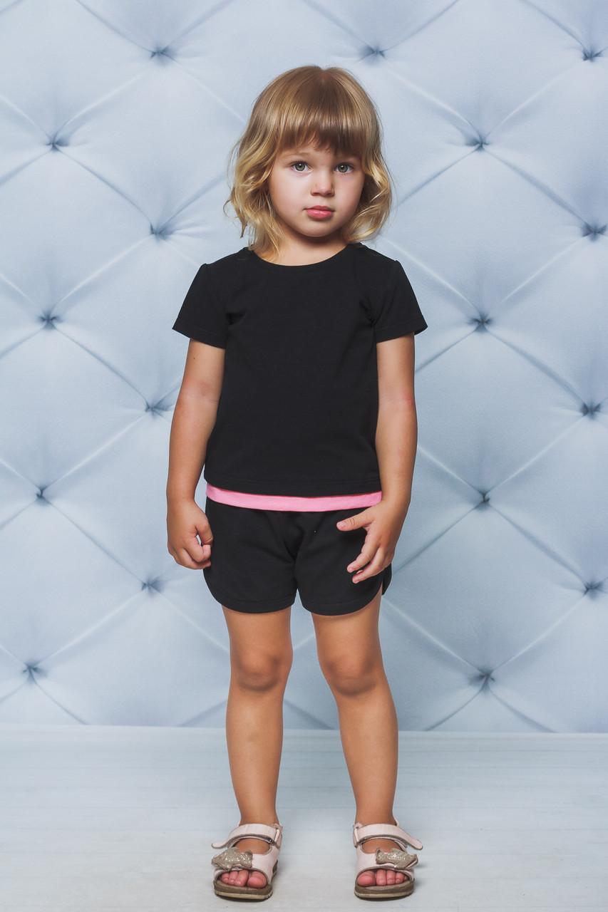 Летний детский спортивный костюм с шортиками Черный