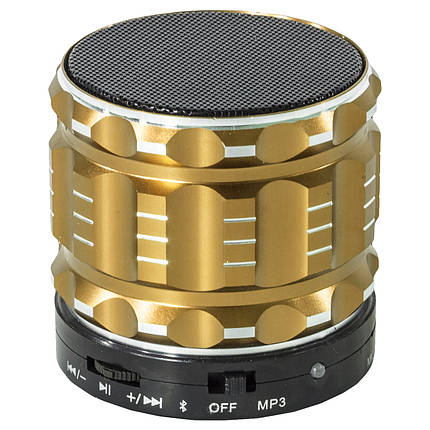 Колонка BL Lesko S-28 золотистая с функцией Bluetooth-спикера поддержка памяти в металлическом корпусе mp3, фото 2