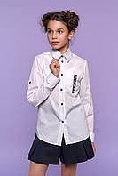 Школьная  блуза рубашка c длинным  рукавом трансформер 128, 146р