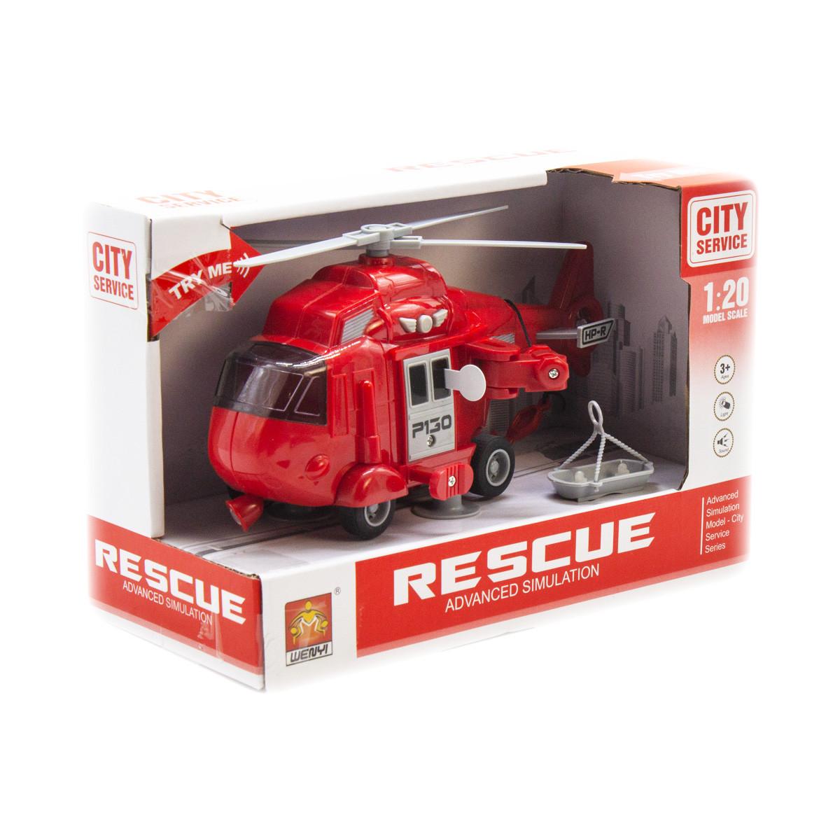 Интерактивный инерционный вертолёт  Спасатель  (красный)