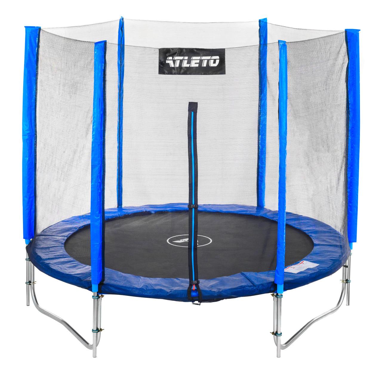 Батут Atleto 183 см с двойными ногами с сеткой+ лестница синий