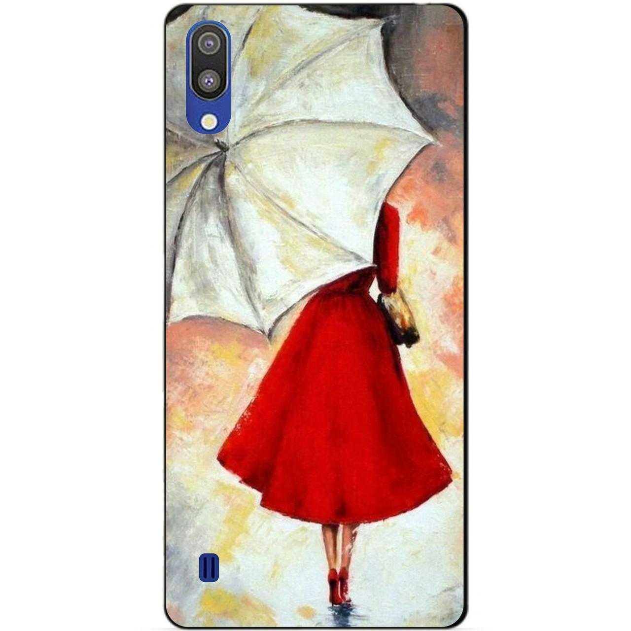 Чехол силиконовый для Samsung M10 2019 Galaxy M105f с рисунком Зонт