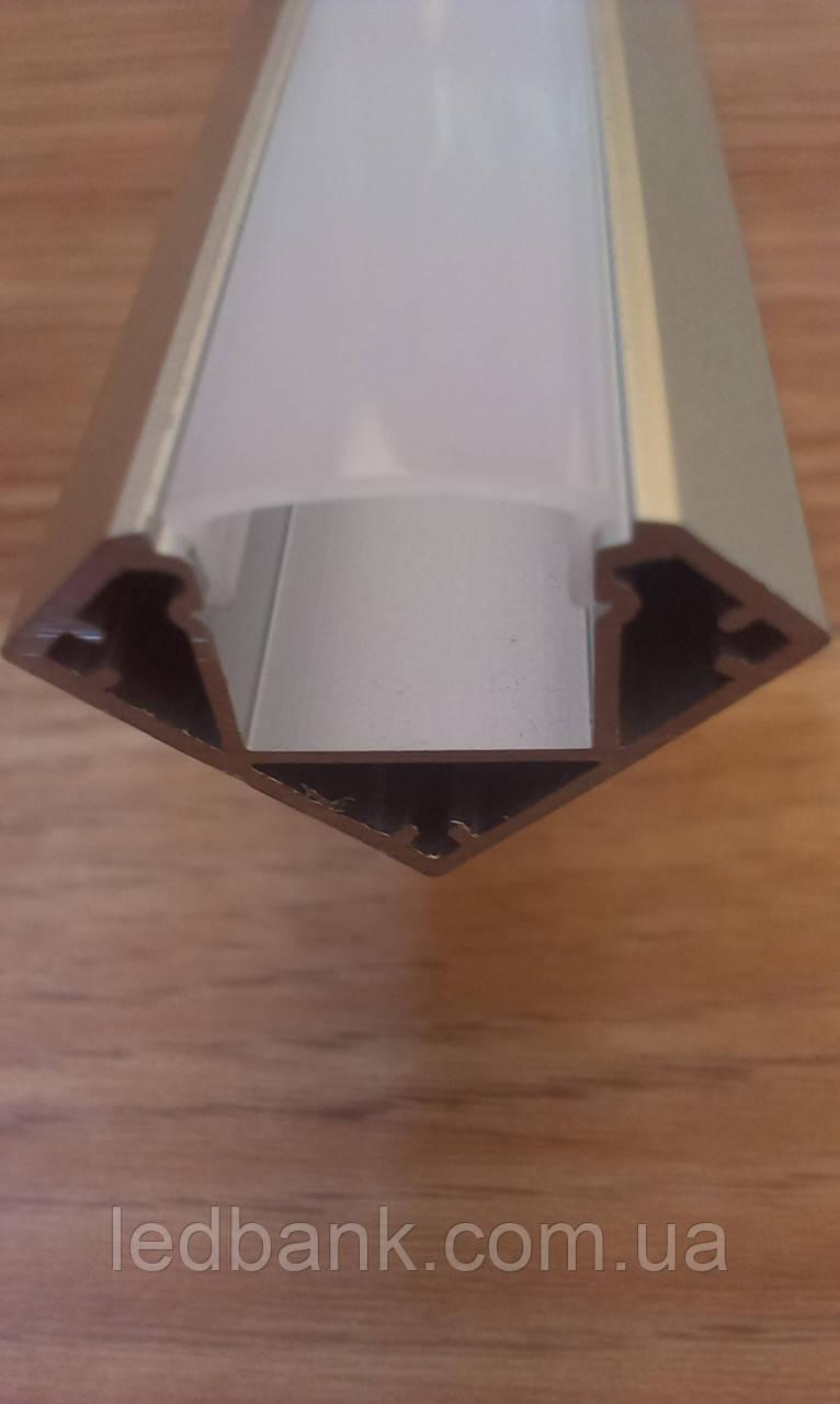 Алюминиевый профиль для светодиодных лент угловой с рассеивателем LED-04