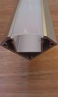 Алюминиевый профиль для светодиодных лент угловой с рассеивателем LED-04, фото 1