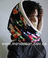 Модный снуд на флисе, теплый шарф - хомут